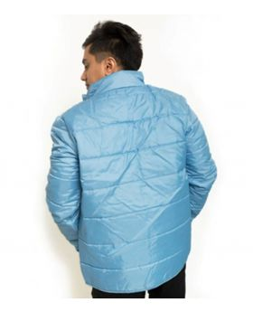 Sky Blue Polyester Bomber Jacket For Men