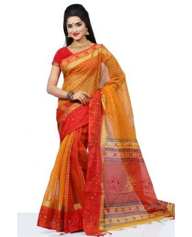 Pure anddy silk with hand block & embroidery Saree for Women