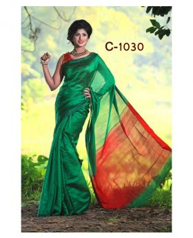 Tangail Silk Saree for Women (Green-Red)