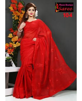 Colorful Pure Red Muslin Silk with Hand Ambroidery Cut Work Applique Sharee for Women
