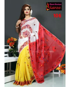 Colorful 3 shade muslin silk with hand embroidery & cut work applique Saree for Women
