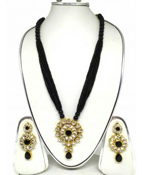 LONG NECKLACE BLACK PUTI TERCEL WITH WHITE STONE WORK