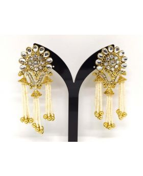 JOYPURI EARRING WITH WHITE KUNDON STONE PEARL WORK LONG LENGTH