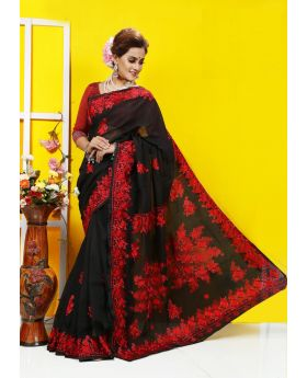 Pure black muslin silk with hand embroidery Sharee for women