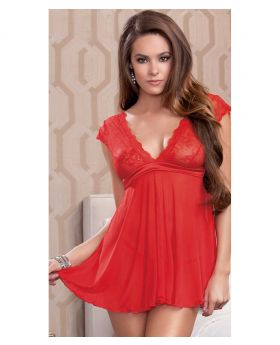 Polyester+Spandex Sexy Red Back tie Lingerie and G-String - Red