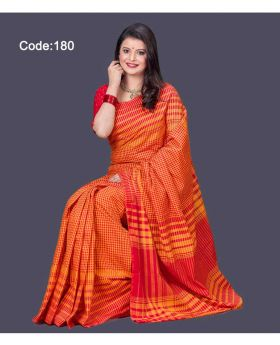 Maslice Cotton Saree for women (Orange-Red)