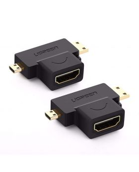Micro HDMI + Mini HDMI Male to HDMI Female Adapter
