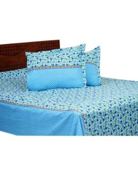 Cotton Bed Sheet with Matching 2 Pillow Covers - Multicolor