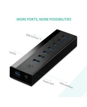 Ugreen 30845 Black 7 Port USB 3.0 HUB (5V Power Supply)