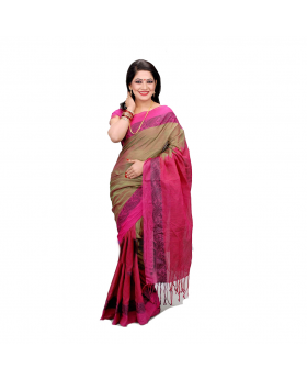 Maslice Cotton Saree-Pink & Multi