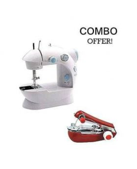 Electric Hand Sewing Machine Combo Offer - White and Red