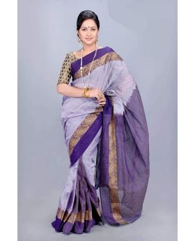 Maslice Cotton Saree-Ash+Blue