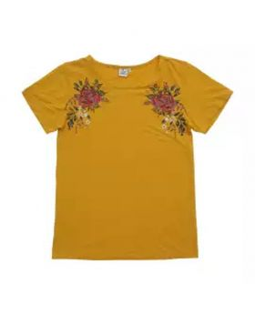 Half Sleeve Ladies T-shirt-Yellow Color