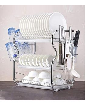 3 Layer Dish Drainer Rack Stainless Steel Silver