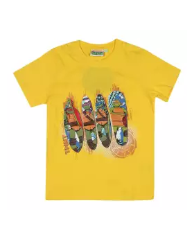 Yellow Cotton Short Sleeve T-shirt For Boys