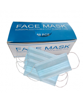 Blue Disposable 3 Ply Mask without Nose Pin - 50pcs Box