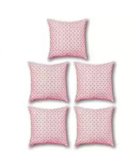 Five Pieces Cushion & Cover White & Red Set