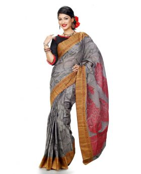 Maslice Cotton Saree-Ash+Red