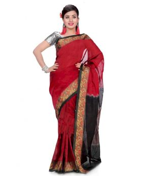 Maslice Cotton Saree-Red+Black color
