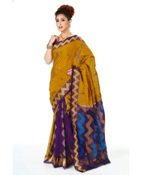 Maslice Cotton Saree-Olive+Multi color