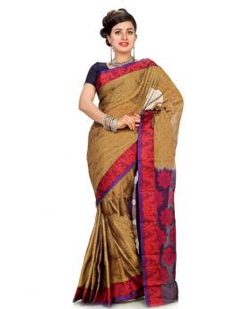 Maslice Cotton Olive+Multi  Saree
