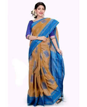 Maslice Cotton Saree-Olive+Blue