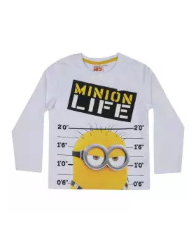 White Cotton Long Sleeve T-shirt For Boys 01