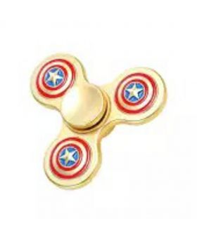 S.Blaze Metal 3 Arm Golden Captain America Fidget Spinner Toy for Kids & Adults