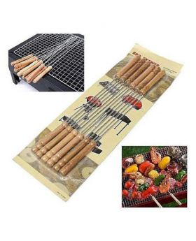 12 Pieces Barbecue Grill Sticks Set - Brown