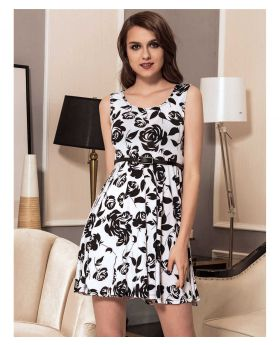 95% Polyester + 5% Spandex Fashionable Print Dress