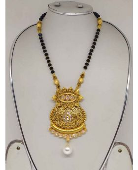 Stone And Pearl Work  Gold Plated MangalSutra