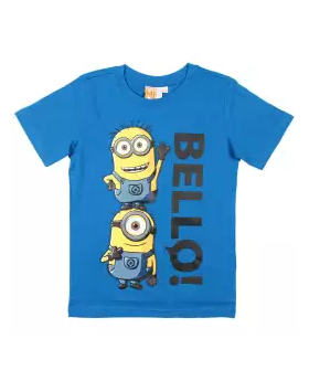 Deep Blue Cotton Short Sleeve T-shirt For Boys