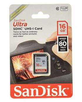 SANDISK 16GB ULTRA UHS-I SDHC MEMORY CARD (CLASS 10) 80MB/S
