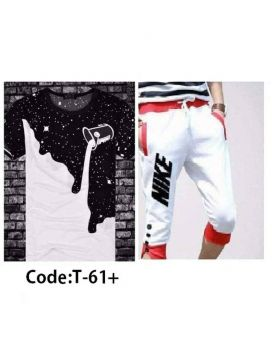 Mens Black And White  Designed T-Shirt With Shorts