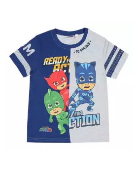 White and Blue Cotton Short Sleeve T-shirt For Boys