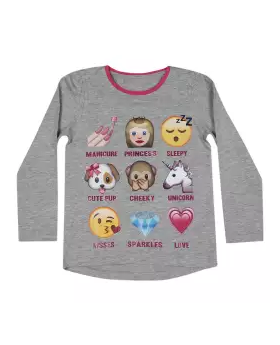 Gray Cotton Long Sleeve T-shirt For Girls