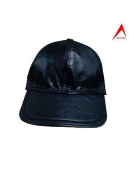 Leather Fashionable Cap Black-ANX06