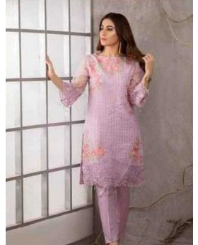 Azure  Chiffon Embroidered  Unstitched Kurti