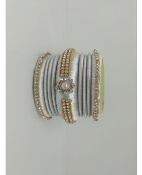 White Color Silk Thread Bangles for Women