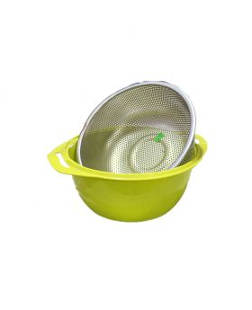 High-Quality Stainless Steel Fruit Bowl Drain Basket Fruit and Vegetable Cleaning Bowl Kitchen Drain Fruit Tray (Small size, Blue color )