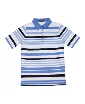 White and Blue Cotton Short Sleeve T-shirt For Boys 03