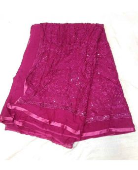Pakistani Chiffon Georgette Saree-Hot Pink