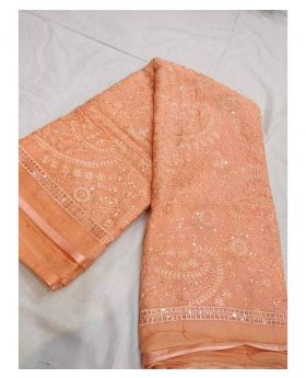 Pakistani Chiffon Georgette Saree-Peach Colour