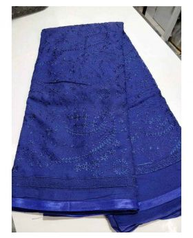 Pakistani Chiffon Georgette Saree-Royal Blue