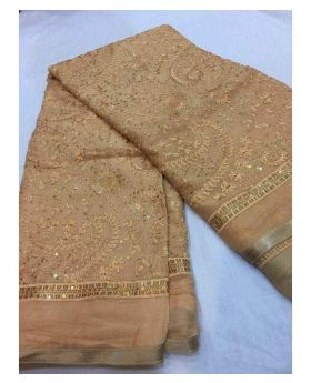 Pakistani Chiffon Georgette Saree- Skin Colour