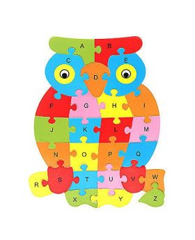 Wooden ABC Alphabet Jigsaw Puzzle  Owl set