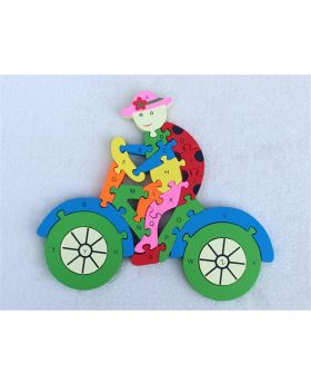 Wooden Bicycle Puzzles English Alphabet Jigsaw for kids