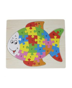 Alphabet Jigsaw Puzzle Board for Kids Wooden Toys - Fish