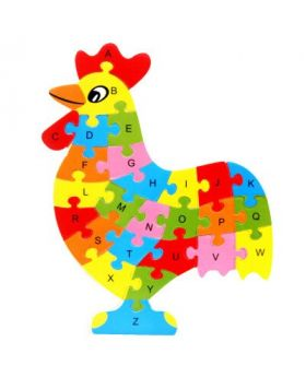 Wooden A to Z Jigsaw Puzzle Board with Cock