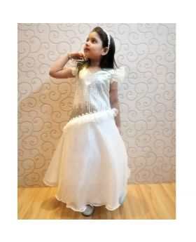 White & Silver sequence gown for Girls